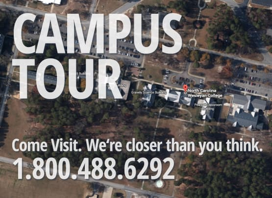 """Google Maps screenshot aerial view with text, """"Campus Tour. Come visit. We're closer than you think. 1.800.488.6292"""" over the picture"""