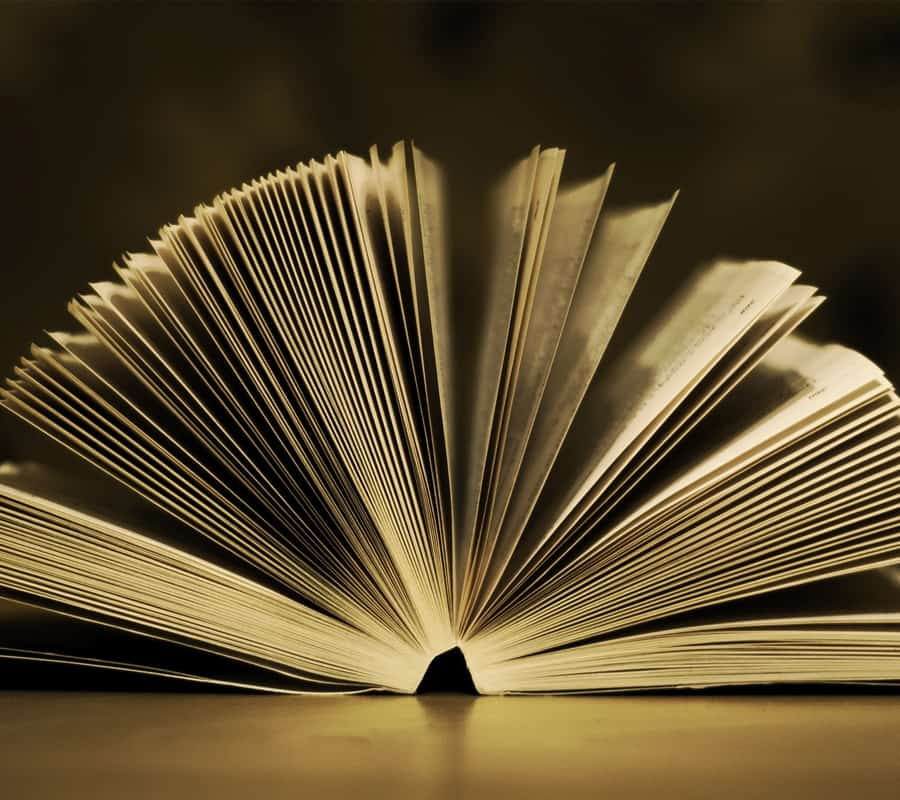 large book with pages fanned out