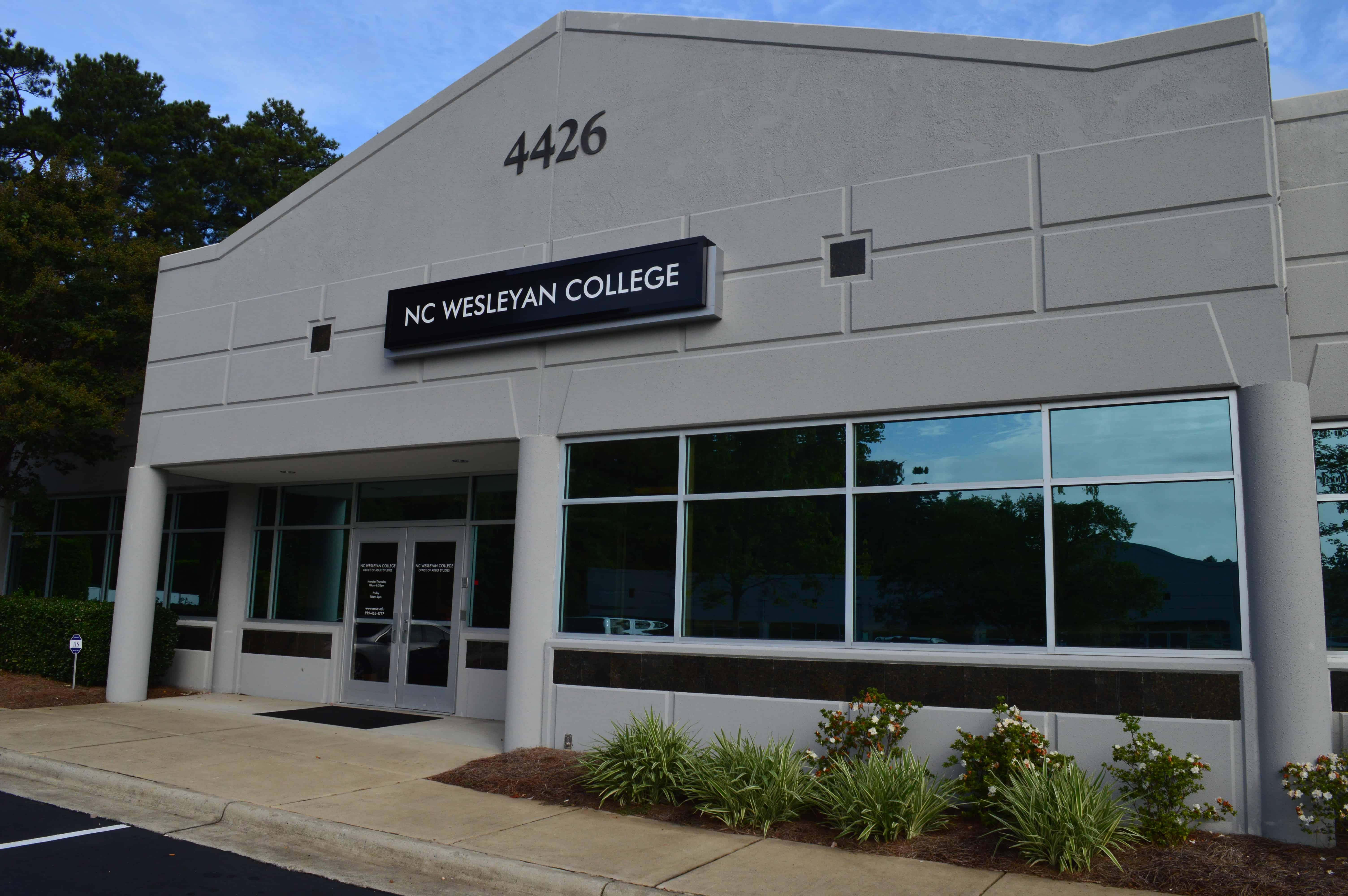 White NC Wesleyan College adult studies building in Raleigh-Durham