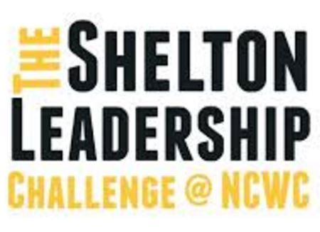 "Black and yellow ""The Shelton Leadership Challenge @ NCWC"" logo"