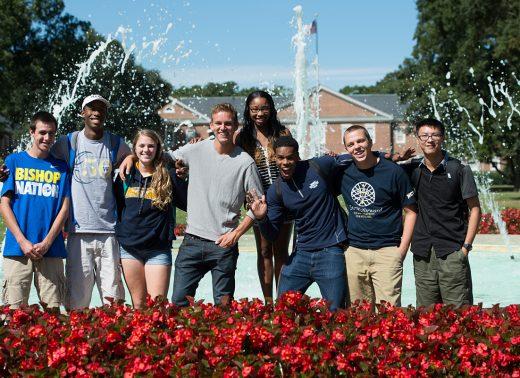 NC Wesleyan students at fountain