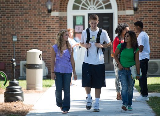 NC Wesleyan students walk through campus