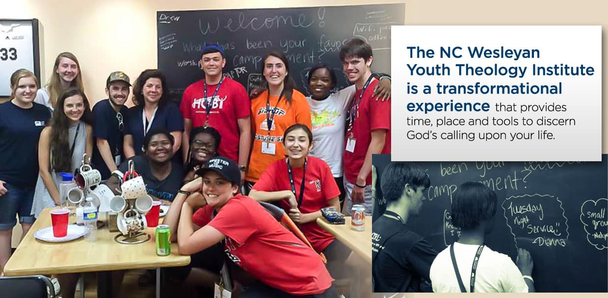 The NC Wesleyan Youth Theology Institute is a transnational experience poster with pictures of happy students