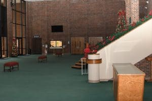side view of the Garner Lobby decorated for the Christmas season