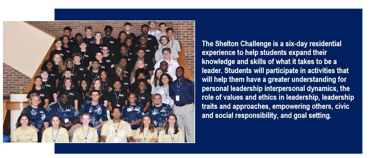 Picture of a large group of students with text on the right about the Shelton Challenge