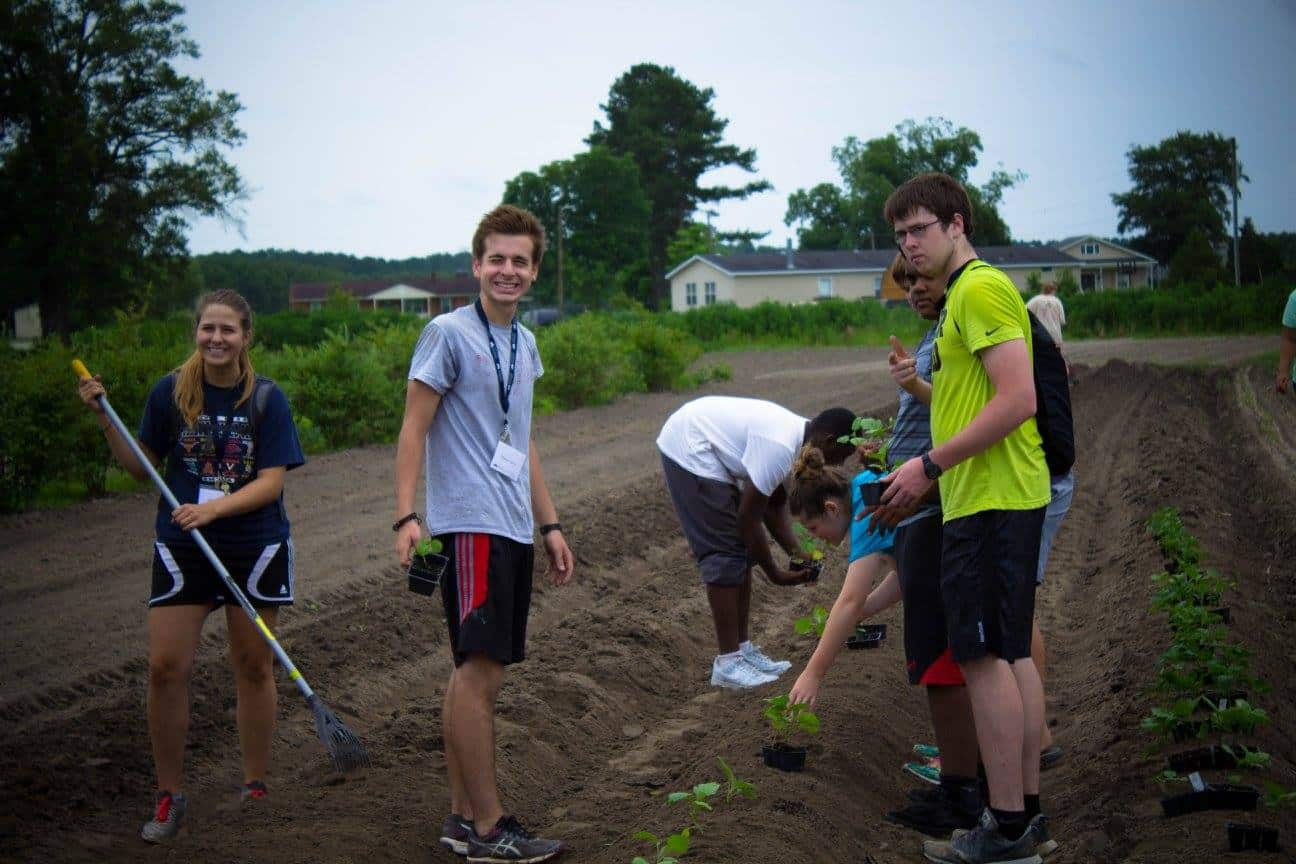 Several teens preparing the ground and planting in a field