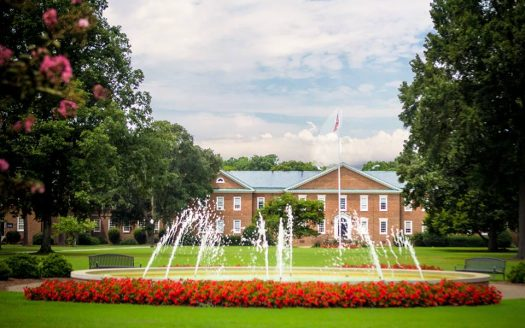 NC Wesleyan College front-lawn fountain picture