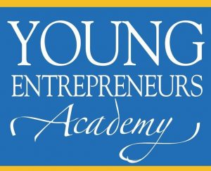 Blue and gold Young Entrepreneurs Academy poster in white text
