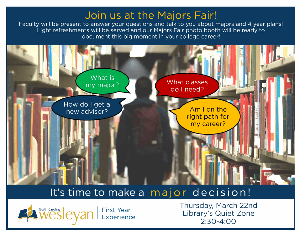 Poster for college fair with picture of a student silhouette walking through a library
