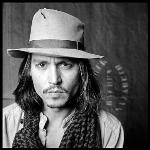 Photograph of Johnny Depp in a hat by Jerome De Perlinghi