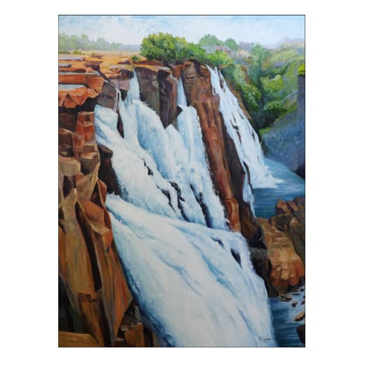 painting of rushing waterfalls down a cliff