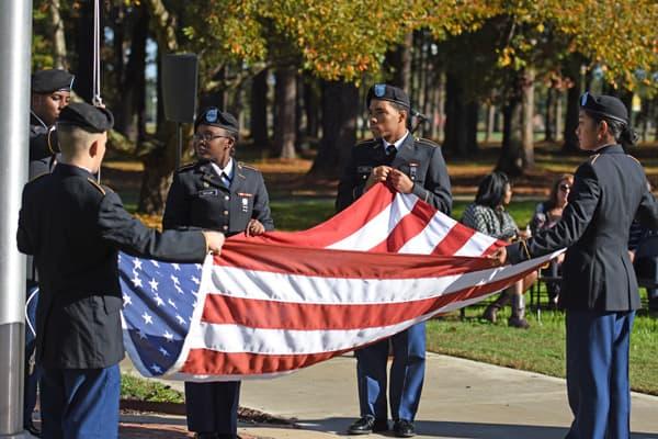 ROTC Students folding flag