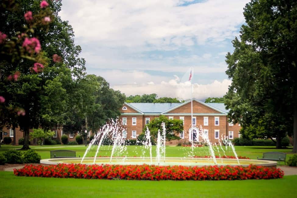 NC Wesleyan College front-lawn fountain and blue skies picture