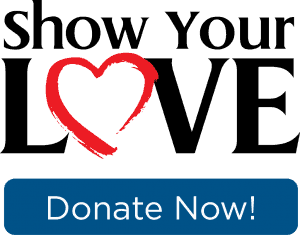 Show your love text graphic with donate now button