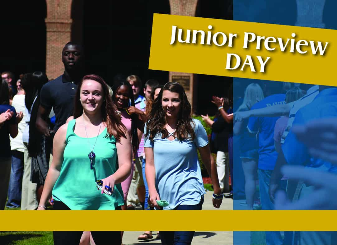 Blue and gold themed Junior Preview Day poster with picturer of excited students walking through a line of cheering people
