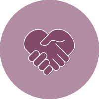 purple graphic of shaking hands that forms a heart