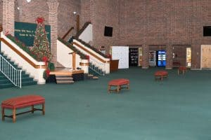 wide-view of the Garner Lobby decorated for the Christmas season
