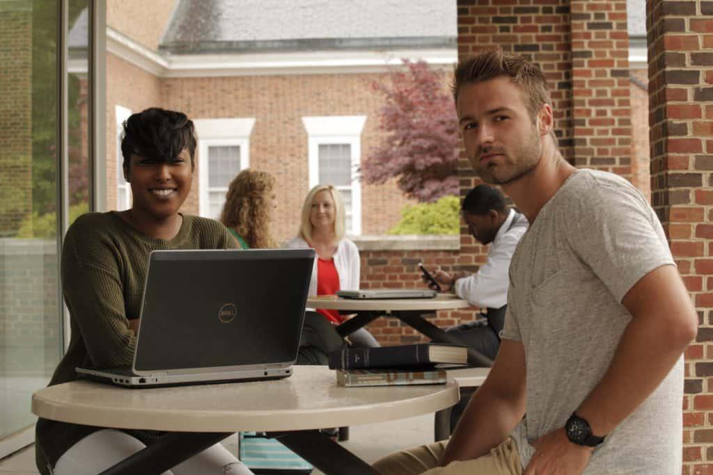 NC Wesleyan students at Pearsall Library