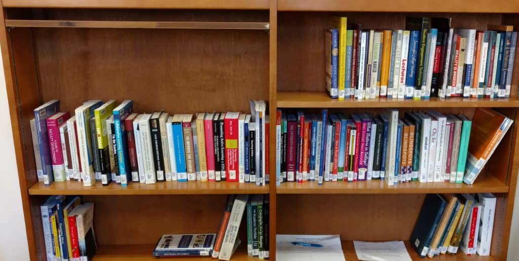 Books available for faculty to check out in the TLC