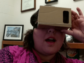 Woman using a Virtual Reality Viewer