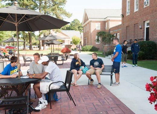 NC Wesleyan students on patio