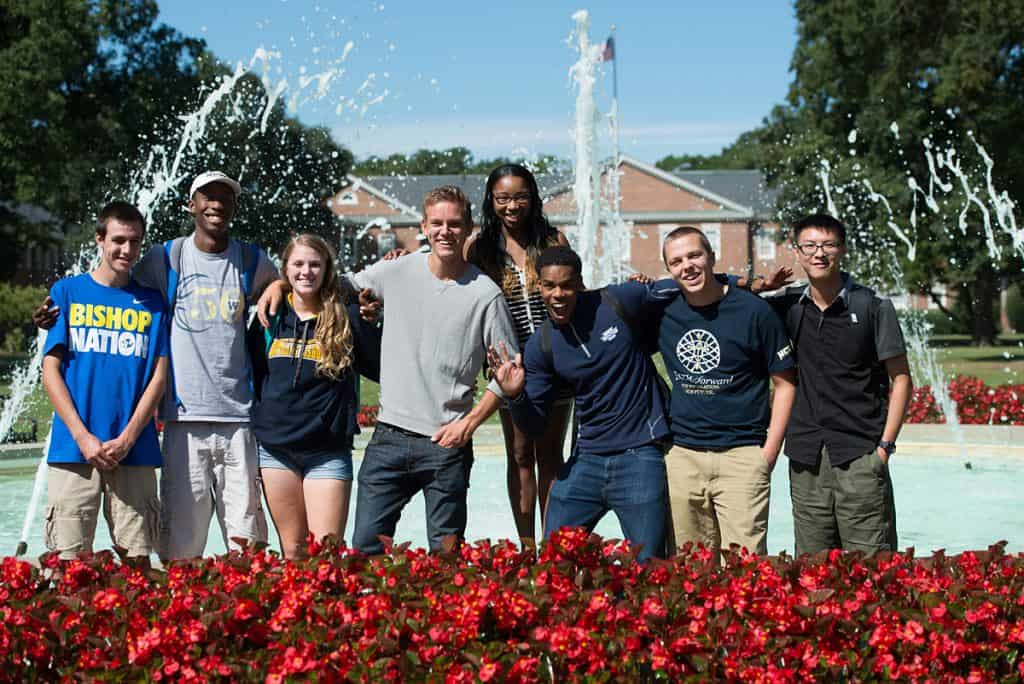 NC Wesleyan students at fountain