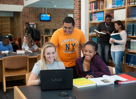 NC Wesleyan students in library