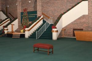 The Garner Lobby decorated for the Christmas season