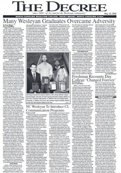 "The Decree student newspaper with headline, ""Many Wesleyan Graduates Overcame Adversity."""