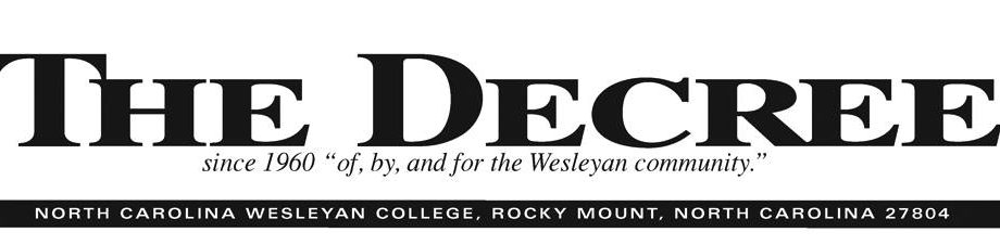 "Black ""The Decree"" NC Wesleyan student newspaper header"