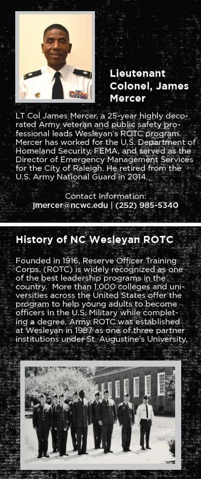 Picture of Lieutenant Colonel, James Mercer and short bio plus short article on History of NC Wesleyan College ROTC