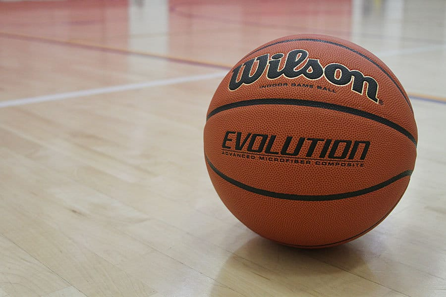 Brown Wilson Evolution basketball on a hard-wood court