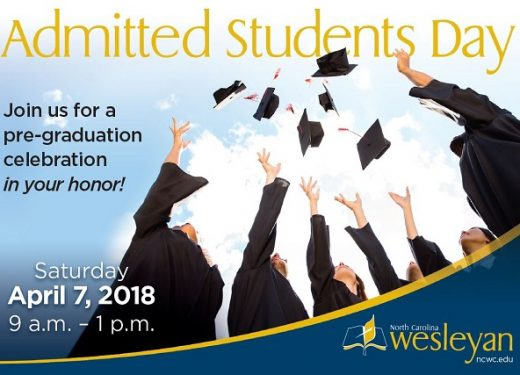 Admitted Students Day poster with information over a graphic of students throwing up their graduation caps