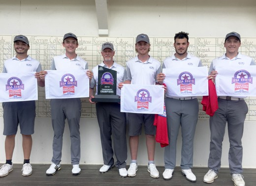 NCWC Golf Team & Coach holding USA south towels and USA South Trophy