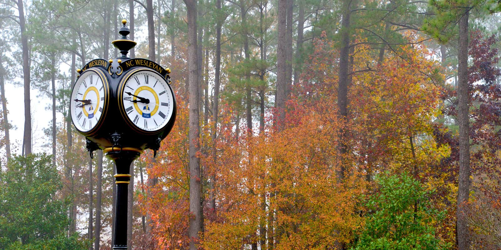 NC Wesleyan Clock in fall