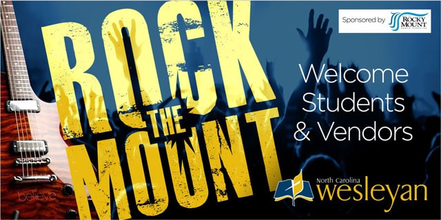 nc Wesleyan rock the mount banner