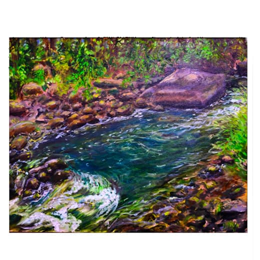 painting of moving water in a brook in purples greens and blues