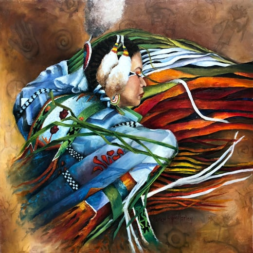 painting of a Native American woman in tribal dress viewed from the right side of the face