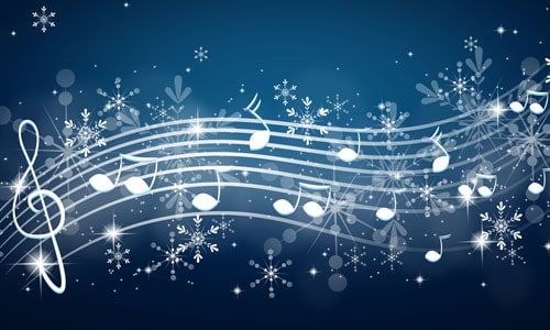 whimsical music notes with navy background and snowflakes image