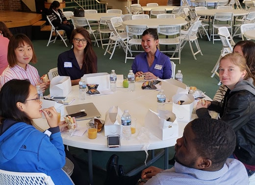 NCWC Students gathered together eating lunch