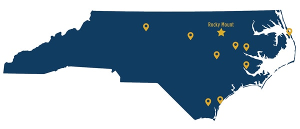 map of NC with campus locations