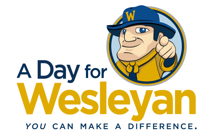 """A Day for Wesleyan """"You can make a difference"""" poster with pointing wes"""