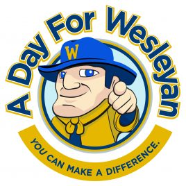 """Pointing Wes A day for Wesleyan """"You can make a difference"""" logo"""
